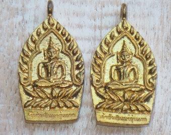 Gold Brass Sitting Buddha Charm, Buddha Pendant, Sitting Buddha Pendant