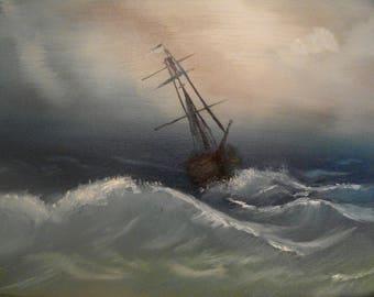 Ship in storm at sea