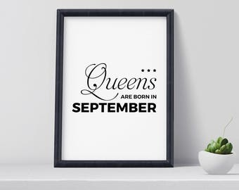 Queens are born Typography print, Typography art, Typography poster, Modern wall art, Typography wall art, home decor, gift for her