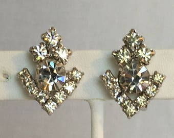 Clear Rhinestone Earrings, Arrow Earrings, Silver Tone, Screw Back, Vintage, 1950s