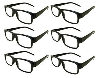 Mr. Reading Glasses 6 Black Plastic Frame Men/Women Vintage Reader Wholesale +2.75