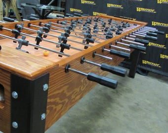 Hand Crafted Solid Wood and Steel 8 Player Foosball Table by Warrior Table Soccer