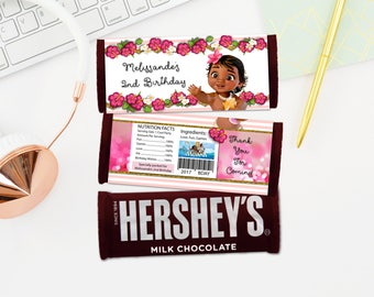 Personalized Baby Moana Vaiana Hershey's Chocolate Bar Wrapper Hibiscus Tropical Flowers Birthday Party Favors DIY Printable - Digital File