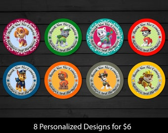 Personalized Paw Patrol Cupcake Toppers Favor Stickers Birthday Party Gift Thank You Tags Skye Chase Everest Printable DIY - Digital File