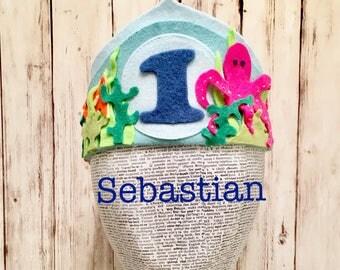 Sebastian | Under the Sea Crown | First Birthday | Boy Birthday Crown | Felt Octopus Fish Water Crown | Baby Crown | Baby 1st Birthday