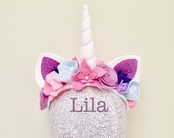 Unicorn Headband l Unicorn Birthday Party l Pink Purple Felt Flowers l Child Unicorn Costume l Adult Unicorn l Pastel Felt Flowers
