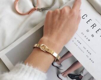 Buckle Bracelet,Rose gold Buckle Bracelet, Gold buckle bracelet,Hinge Bracelet, Adjustable Cuff, Adjustable Bracelet, Belt Bracelet