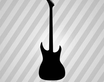 Guitar Silhouette - Svg Dxf Eps Silhouette Rld Rdworks Pdf Png Ai Files Digital Cut Vector File Svg File Cricut Laser Cut