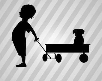 Kid Wagon Puppy Silhouette - Svg Dxf Eps Silhouette Rld Rdworks Pdf Png Ai Files Digital Cut Vector File Svg File Cricut Laser Cut