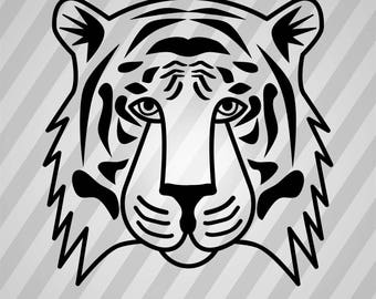 Tiger Head Silhouette - Svg Dxf Eps Silhouette Rld Rdworks Pdf Png Ai Files Digital Cut Vector File Svg File Cricut Laser Cut
