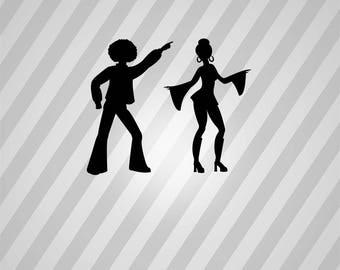 disco dancers Silhouette - Svg Dxf Eps Silhouette Rld RDWorks Pdf Png AI Files Digital Cut Vector File Svg File Cricut Laser Cut