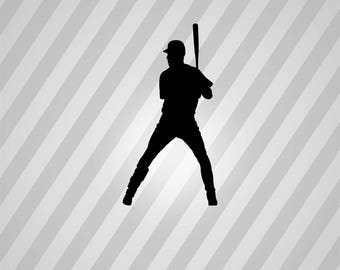 Baseball Player Silhouette Baseball - Svg Dxf Eps Silhouette Rld RDWorks Pdf Png AI Files Digital Cut Vector File Svg File Cricut Laser Cut