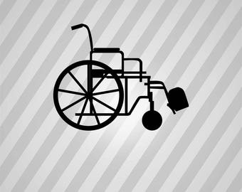 wheelchair Silhouette - Svg Dxf Eps Silhouette Rld RDWorks Pdf Png AI Files Digital Cut Vector File Svg File Cricut Laser Cut