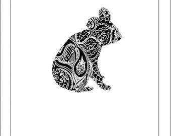 Koala Silhouette - Papercut Template Paper Cut Silhouette Pdf Line Art Cut Files