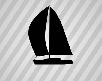 yacht Silhouette - Svg Dxf Eps Silhouette Rld RDWorks Pdf Png AI Files Digital Cut Vector File Svg File Cricut Laser Cut