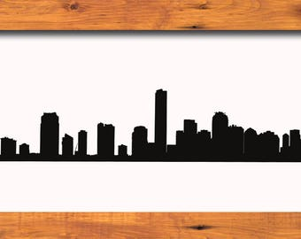 Miami Skyline Silhouette Miami Florida Skyline - Svg Dxf Eps Silhouette Rld RDWorks Pdf Png AI Files Digital Cut Vector File Svg File Cricut