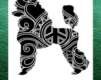 Standard Poodle Papercut Template Mandala Henna - Svg Paper Cut Templates Stencil Line Art Pdf Cut Files Digital Clip Art Drawing