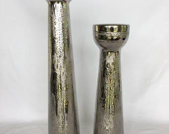 Mirrored Blown Glass Candleholder Set - Pair
