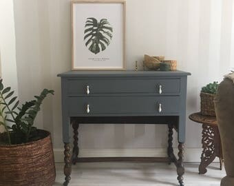 Painted barley twist vintage drawers/ console
