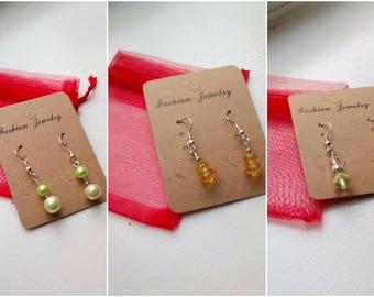 Yellow pearlescent drop earrings set 1