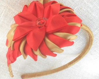 """Hair band """"Good student"""" for girls with red and gold flower Bezel with red flower flower hair ribbon flower textile  flower  headband  girls"""