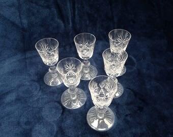 Edinburgh cut crystal liqueur / shot glasses - set of 6