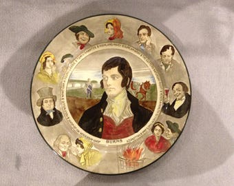 Royal Doulton Antique Robert Burns plate with characters - circa 1930s