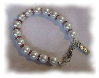 Romantic Pink Crystal and Pearl Bracelet