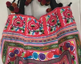 Hmong Hill Tribe Large Embroidered Bohemian Tote Bag