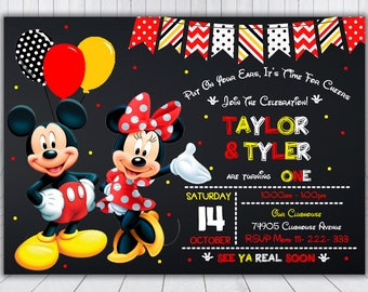 Mickey and Minnie Invitation - Mickey Mouse Invitation - Minnie Mouse Invitation