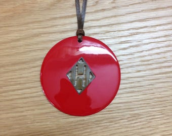 Small H horn pendant, red lacquer pendant, light weight, adjustable cord, dia = 80mm [VS11]