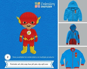 Electric Man Super Hero Baby Embroidery Design