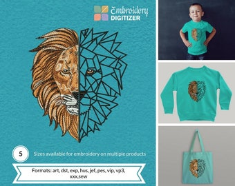 Lion Head stylish embroidery design pattern