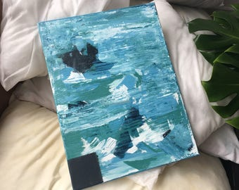 Blue Abstract Acrylic Painting / Original Art / Acrylic on Canvas / rough water 1.0