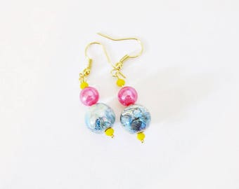 Fancy pink and blue geometric Stud Earrings
