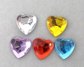 lot 20 stick Rhinestone Heart 8 x 8 mm beads