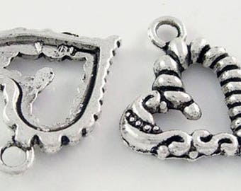 set of 5 charms heart braided metal silver 17 * 22 mm