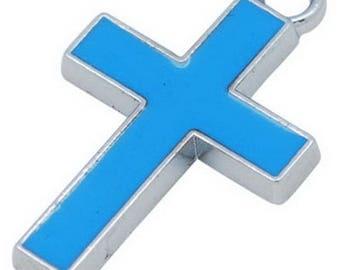 1 blue 26 * 16 mm enamel cross pendant charm