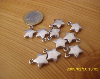 "set of 15 faux metal charms ""Star"""
