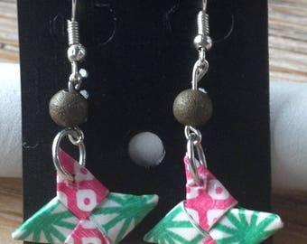 Origami shuriken pink and green earrings