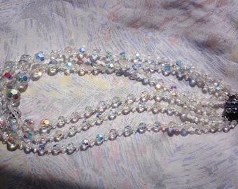 Vintage triple row necklace in swarovski beads