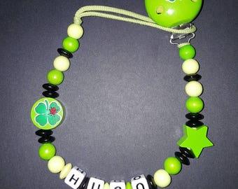 Custom wooden clover pattern pacifier clip