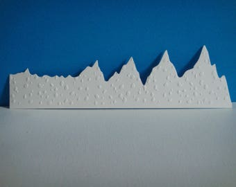 Set of 2 embossed white mountain landscape snow for creation
