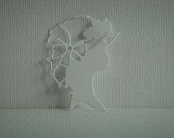 Cut for scrapbooking or card white female figure