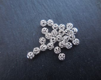 Filigree 4 mm 925 sterling silver beads in packs of 2 mm