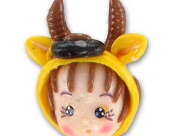 1 pendant doll Taurus fimo 23 mm in height