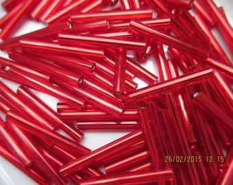 Seed beads tubes Ruby 20 mm 20 g-