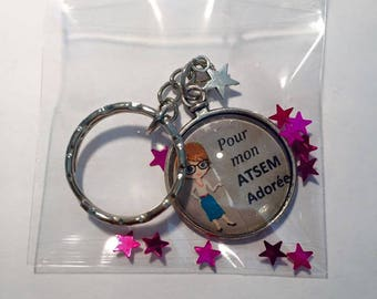 """Keychain Metal free shipping """"Pre-school adored"""" glass Cabochon"""