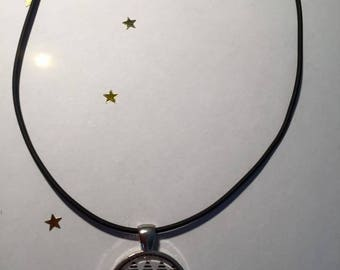 """Rubber pendant 25 mm """"Aztec"""" Choker necklace"""