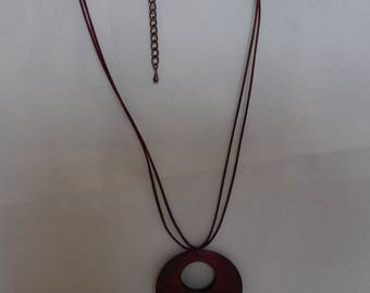 Wooden pendant necklace Burgundy bordeaux silk cord.